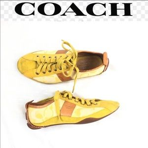 Coach janae yellow/brown low top sneakers size 6